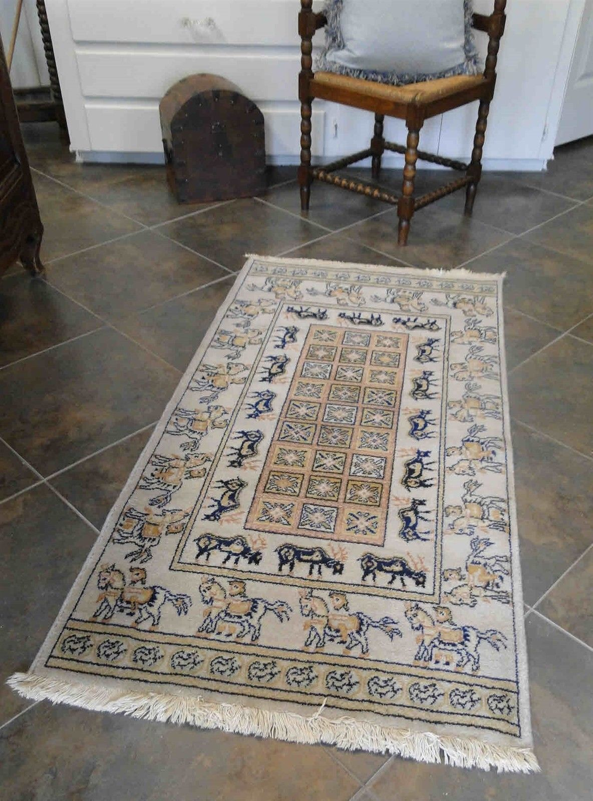 Vintage Rug Area Carpet Hand Knotted Persian Geometric From French Markets Deer