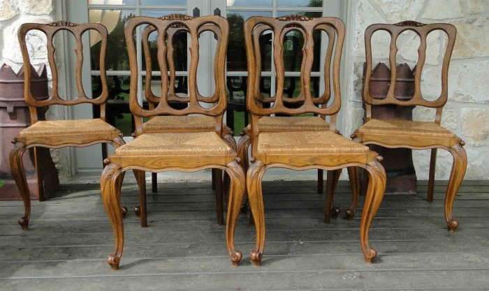 Antique French Solid Oak Dining Chairs Solid Oak