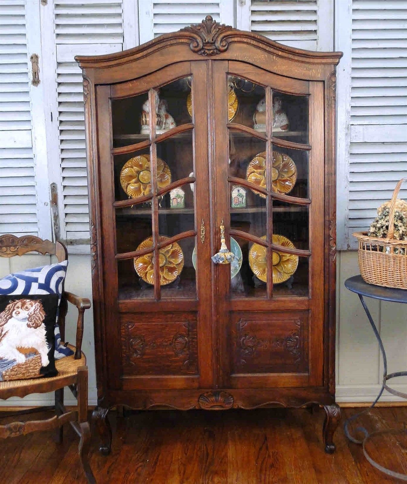 Antique French Country Bookcase Carved Tiger Oak Display Cabinet Vitrine Petite