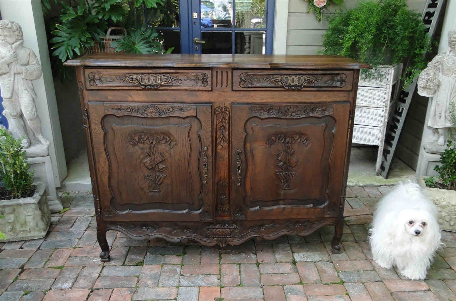 Antique French Country Provence Buffet and Sideboard Server - Petite, Carved of Dark Oak