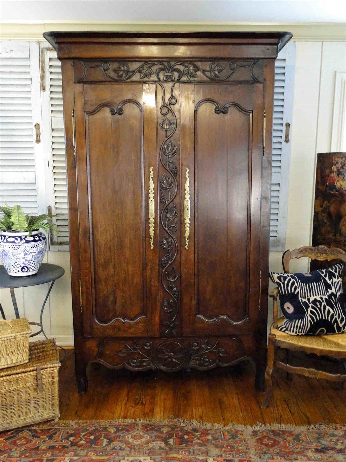 Antique French Armoire Wedding Wardrobe Recessed Panels Carving Shelves, key