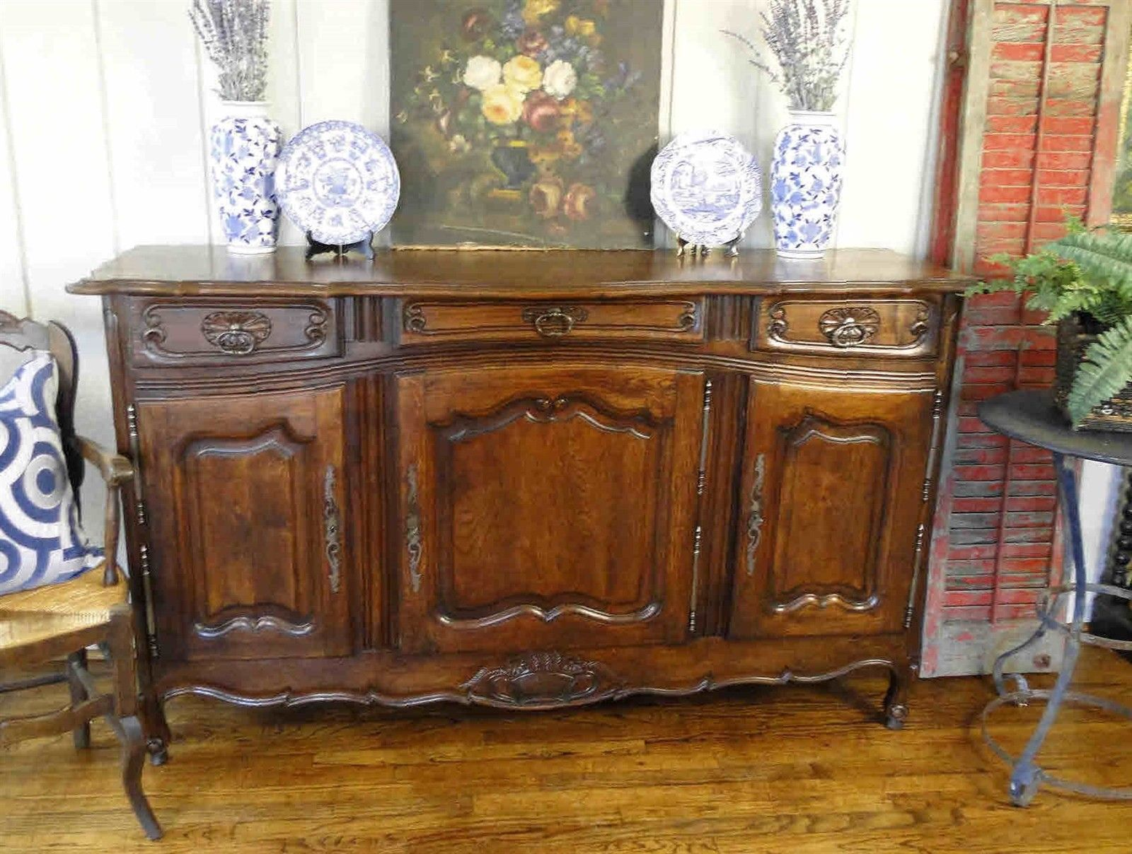 Antique French Country Sideboard Buffet Carved Dark Walnut Scalloped Panel doors