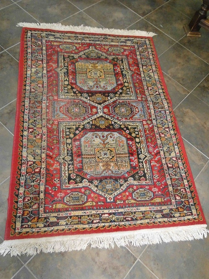 "Vintage Rug Runner Carpet Hand Knotted Persian Geometric 43"" wide 67"" long"