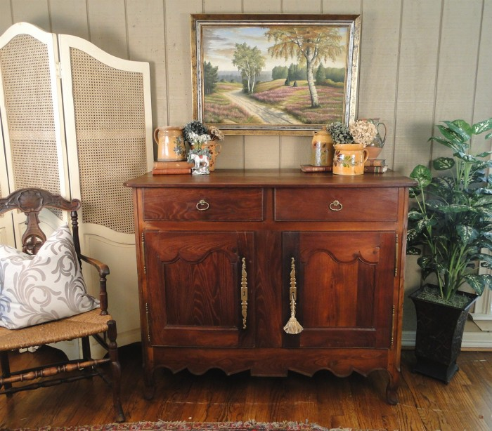 Antique French Pegged Fruitwood Country Buffet
