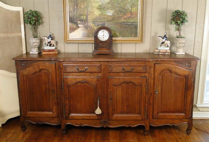 Antique French Country Buffet Dark Oak Server