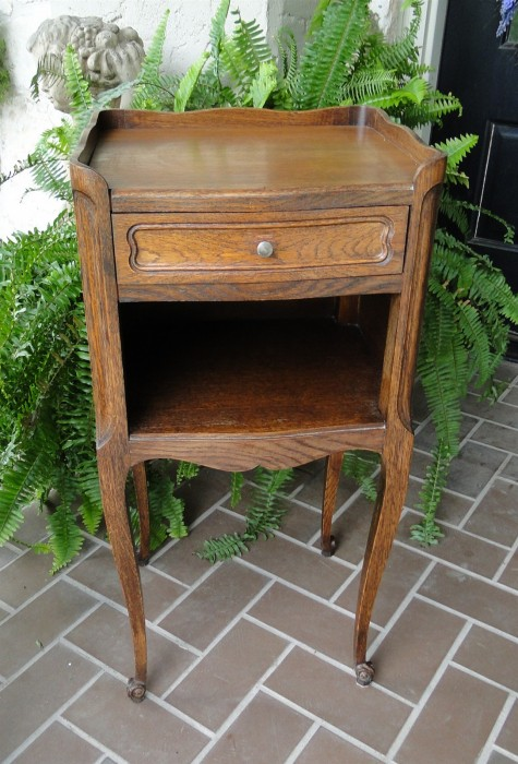 Antique French Side Table Carved Mahogany Petite Nightstand