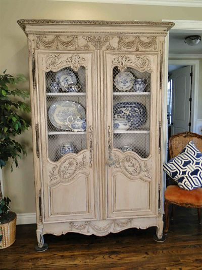 French Country Painted Antique Cabinet And China Display