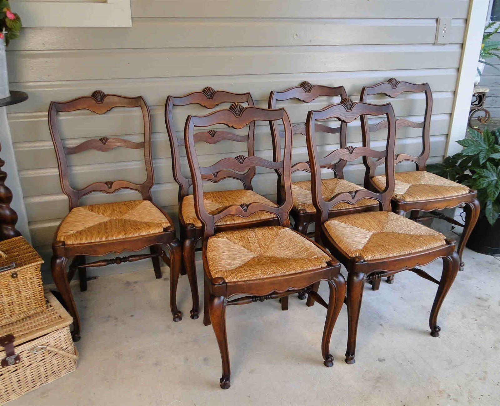 French Antique Dining Chairs with Rush Seats and Tall Backs, Cabriole Legs and Stretchers