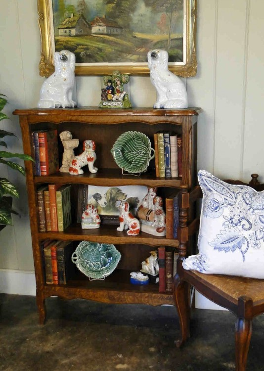 French Antique Bookshelf with Scalloped Dark Oak and Cabriole Legs - Perfect for your Library!