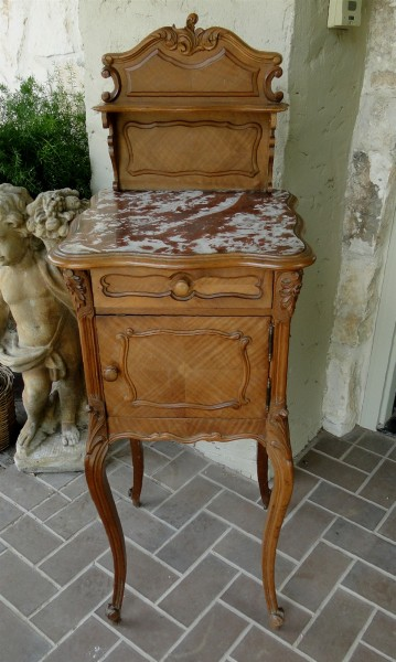 Antique Marble Top French Nightstand